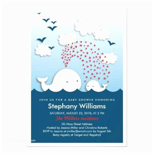Cute Baby Shower Invitations Cute White Whales Stylish Baby Shower Invitation Card