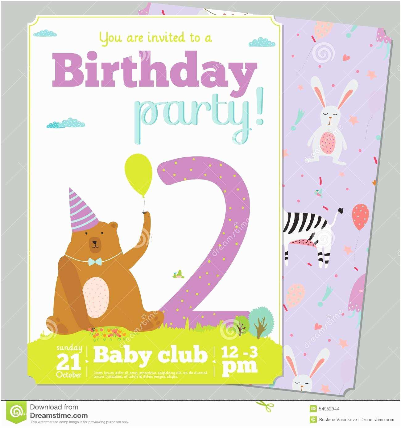 Cute Birthday Invitations Birthday Party Invitation Card Template with Cute Stock