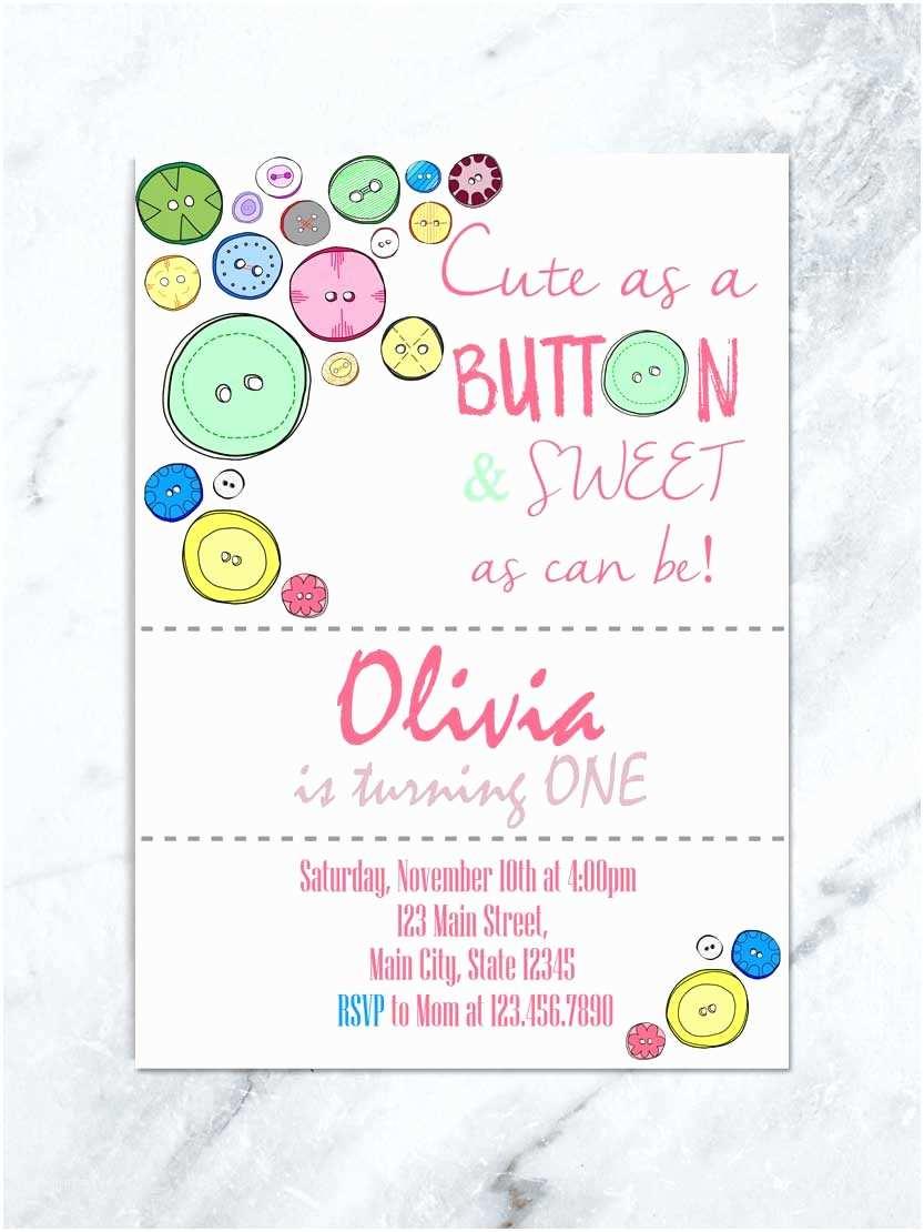 Cute Birthday Invitations Cute as A button Birthday Invitation Cute as A button