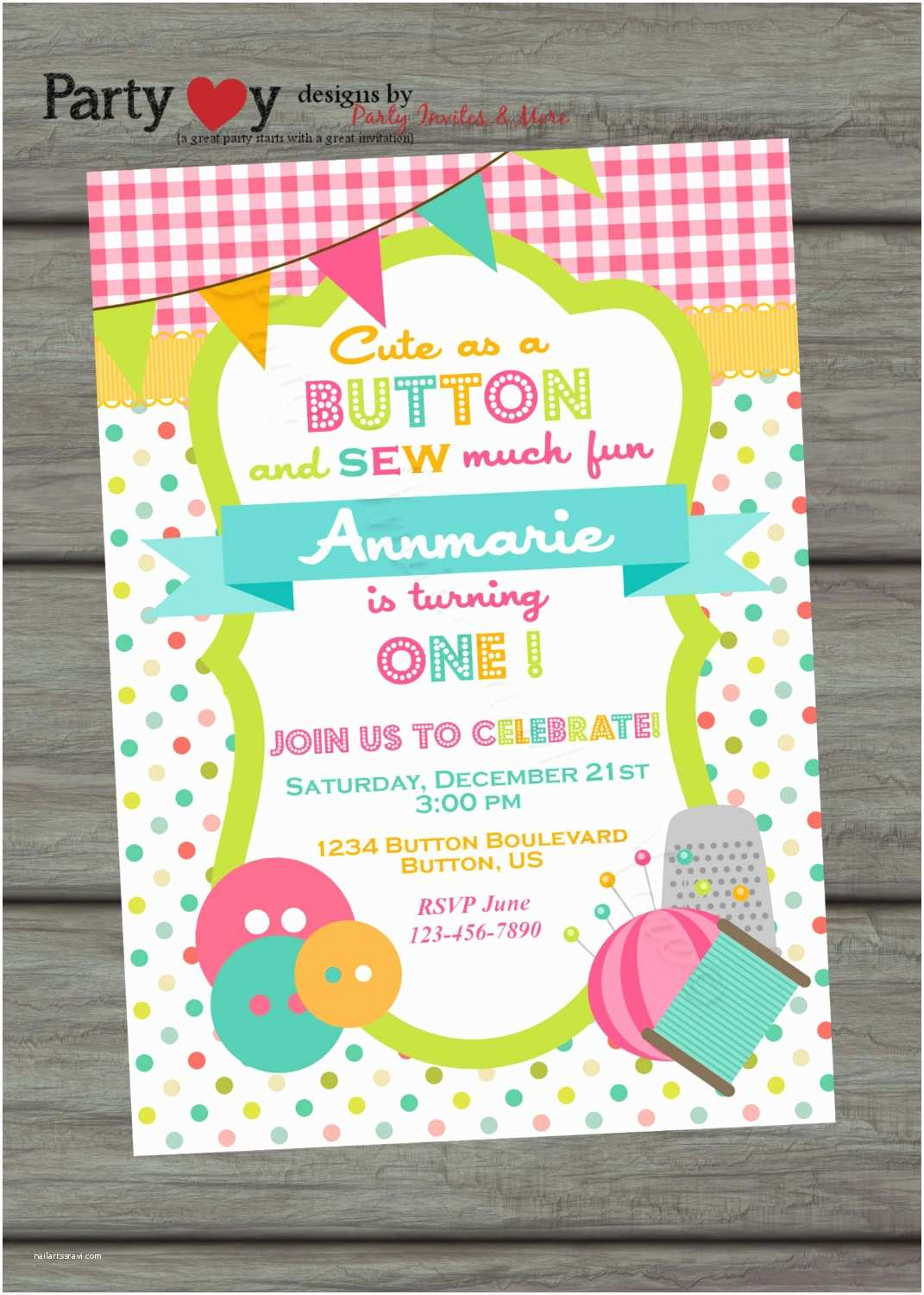 Cute Birthday Invitations Cute as A button Birthday Invitation Sew Cute Birthday