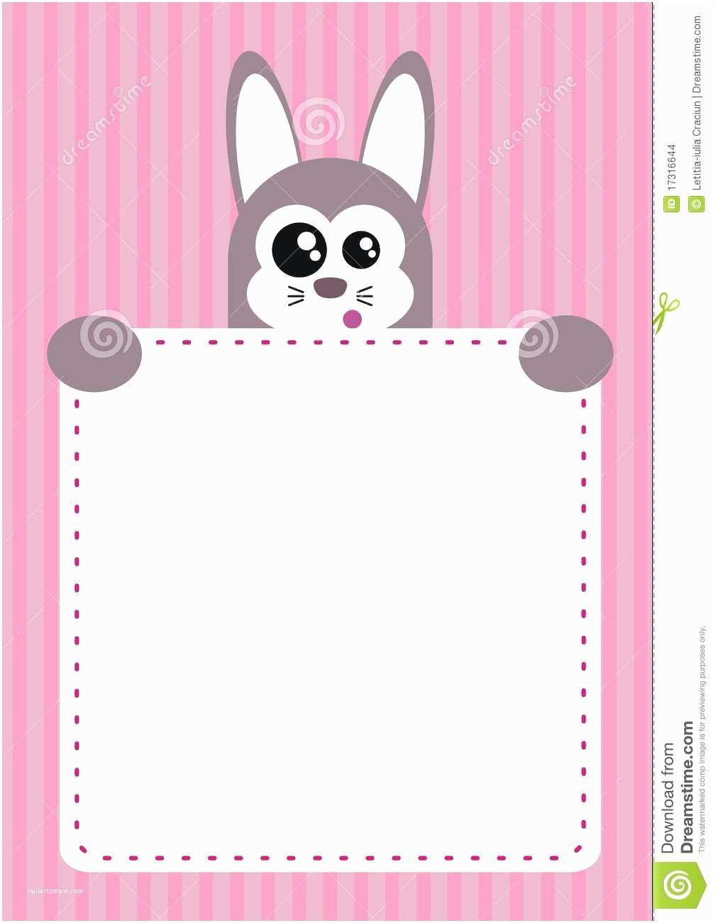 Cute Birthday Invitations Cute Bunny Children Invitation Party Stock Image