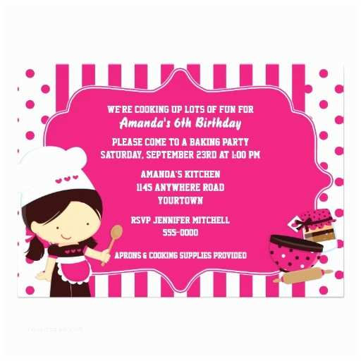 Cute Birthday Invitations Cute Chef Girl S Cooking Birthday Party Card
