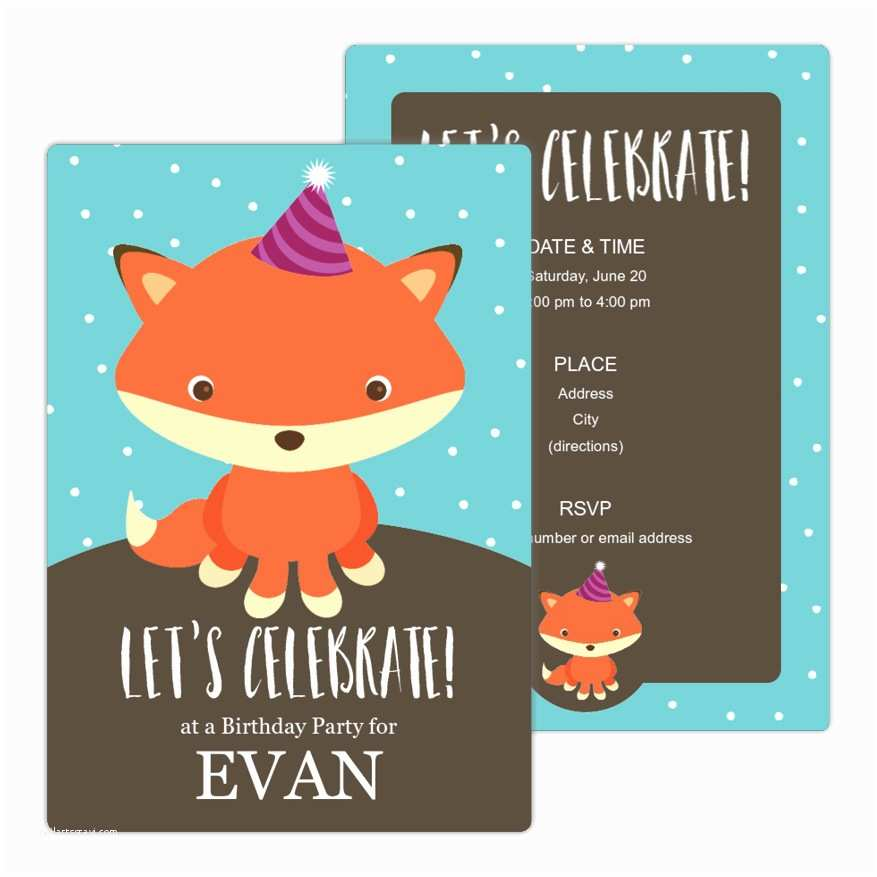 Cute Birthday Invitations Cute Fox Birthday Party Invitation