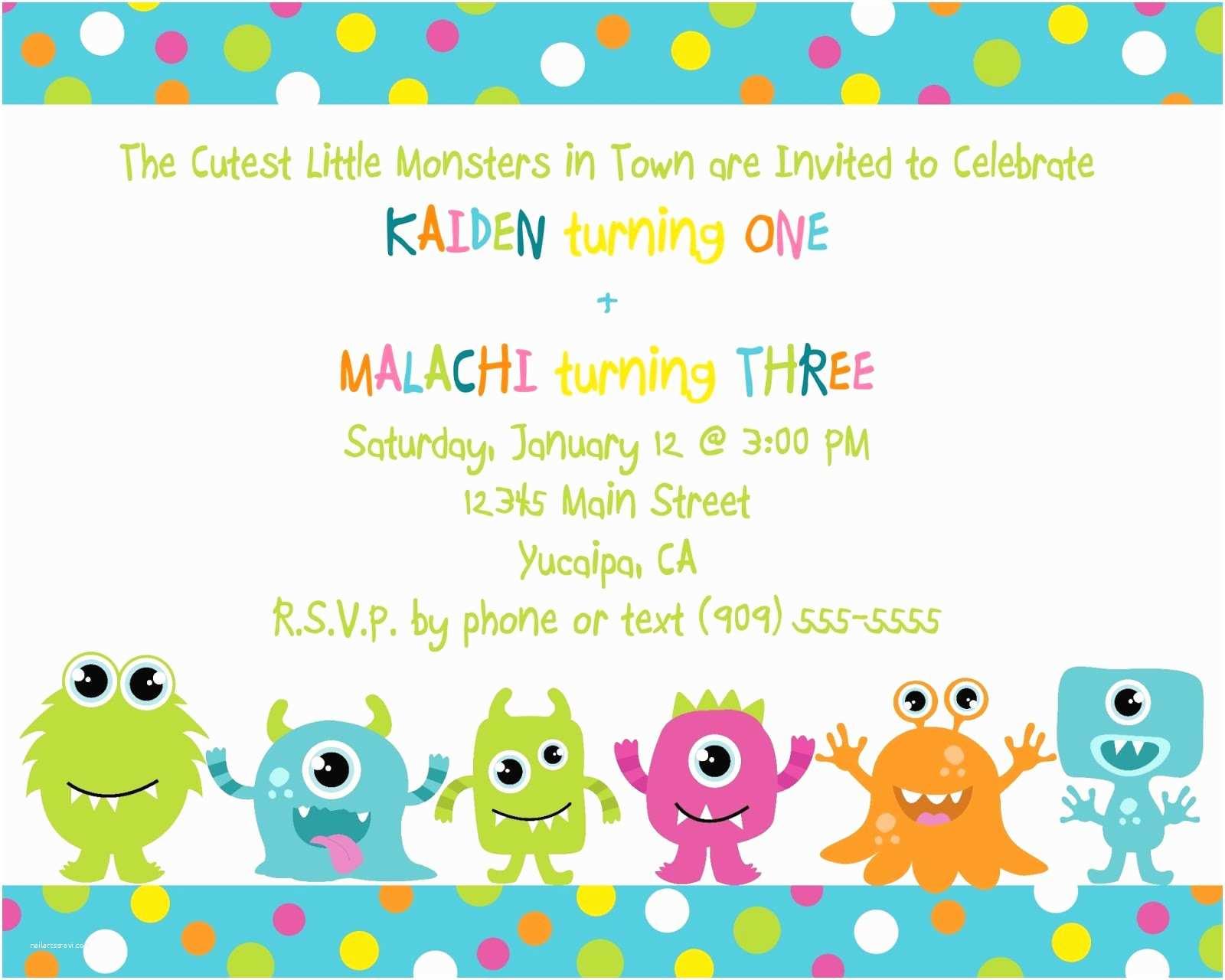 Cute Birthday Invitations Cute Little Monster Birthday Invitation Printable