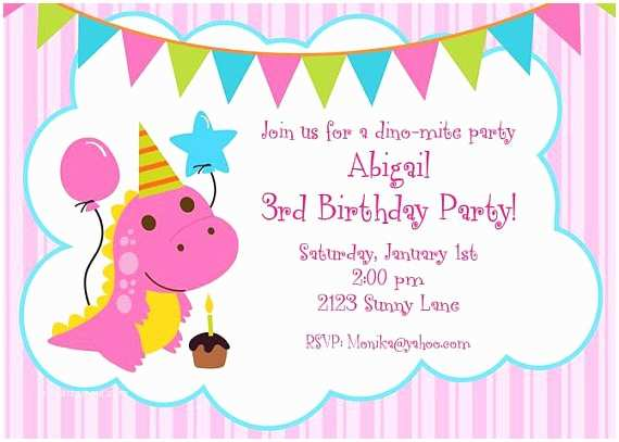 Cute Birthday Invitations Cute Pink Dinosaur Birthday Invitations