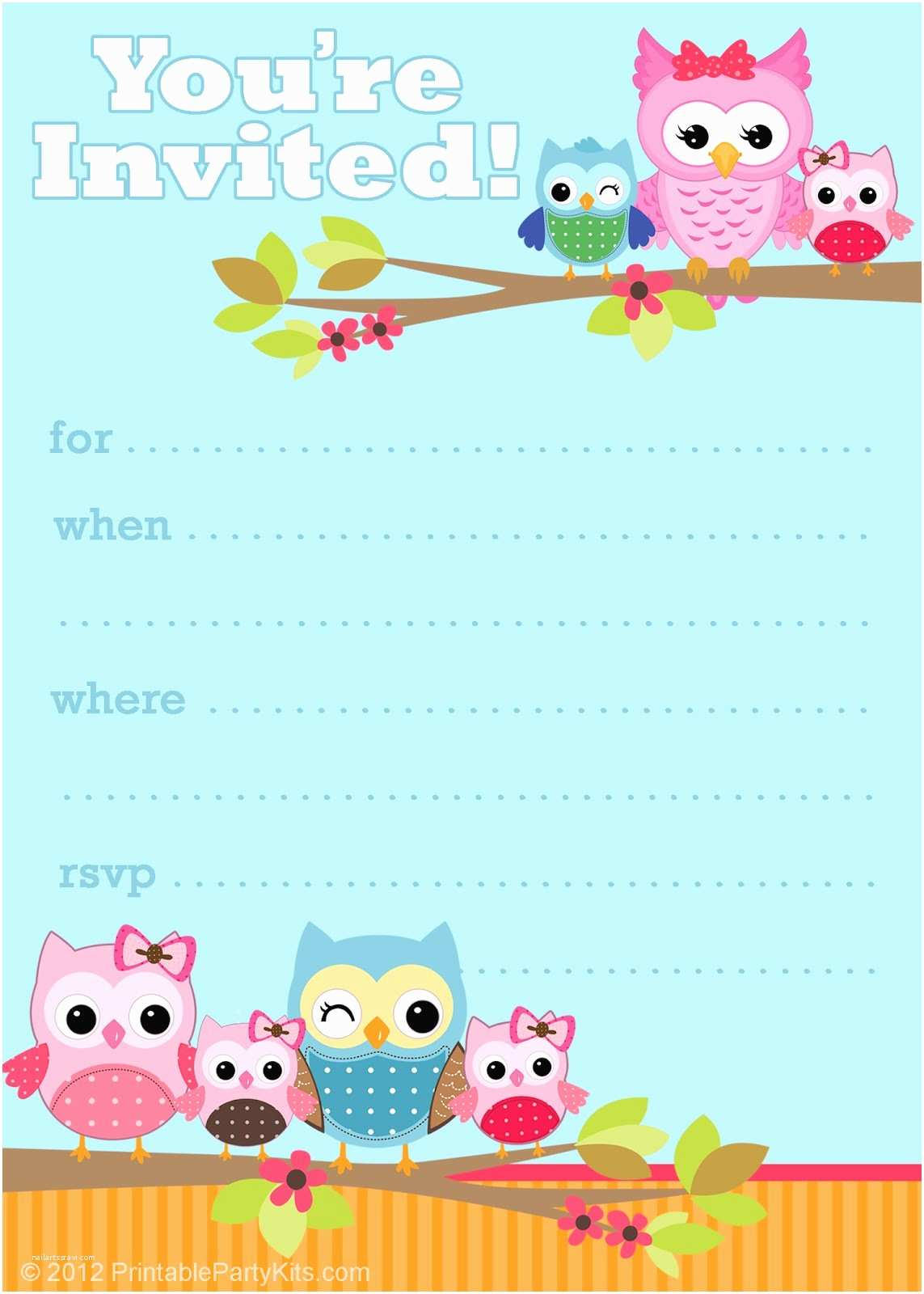 Cute Birthday Invitations Free Printable Party Invitations Cute Owl Invitations