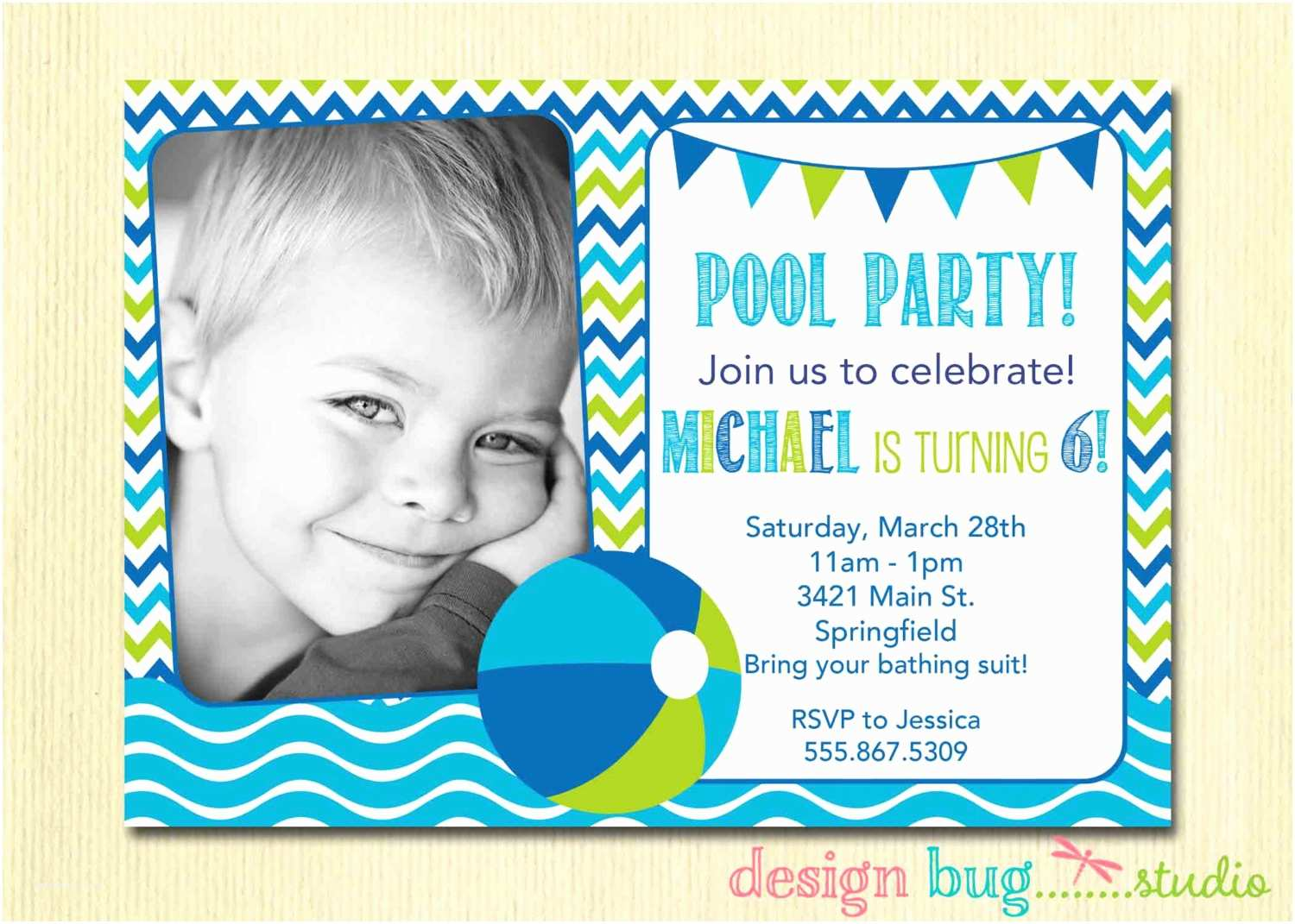 Cute Birthday Invitations Funny Beach and Pool Invitation Card Design Ideas to