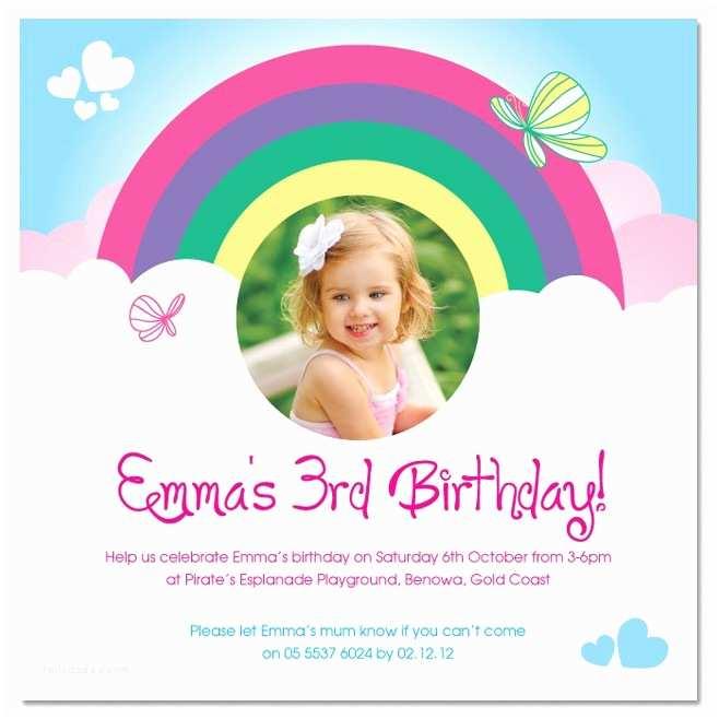 Cute Birthday Invitations Rainbow Birthday Invitations Ideas – Bagvania Free