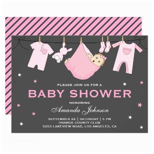 Cute Cheap Baby Shower Invitations Girly Cute Pink Girl Baby Shower Invitations & Party Ideas