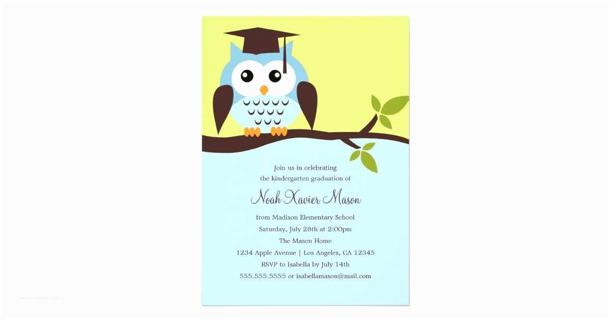 Cute Graduation Invitations Cute Blue Owl Graduation Party Invitation