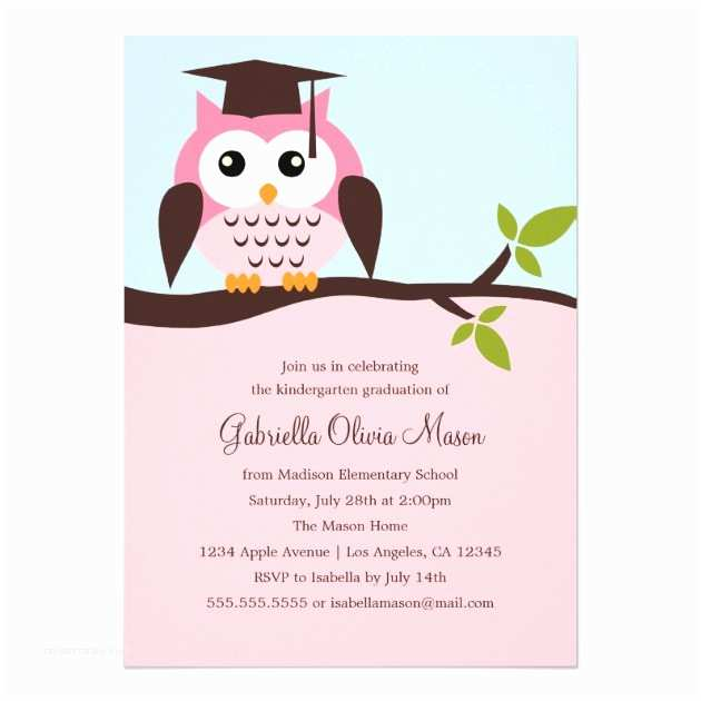 Cute Graduation Invitations Cute Pink Owl Graduation Party Invitation