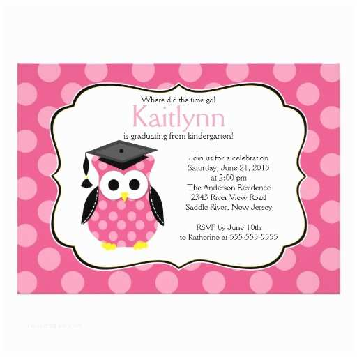 Cute Graduation Invitations Cute Polka Dots Grad Owl Girl Graduation 5x7 Paper