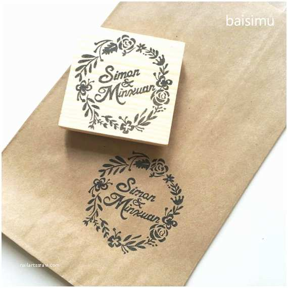 couple name wedding stamp in floral