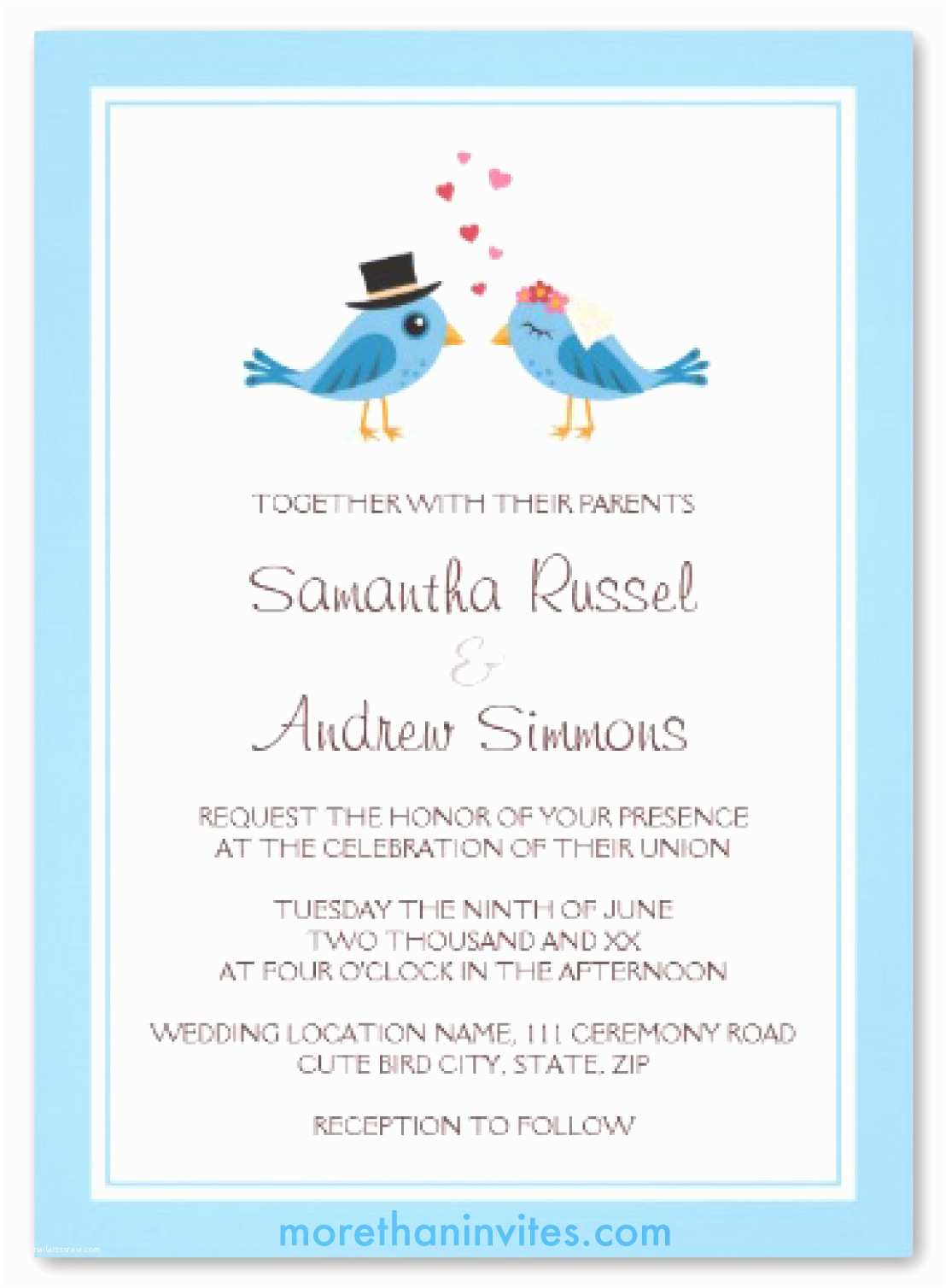 Cute Stamps for Wedding Invitations Cute Blue Bird Bride and Groom Wedding Invitation More