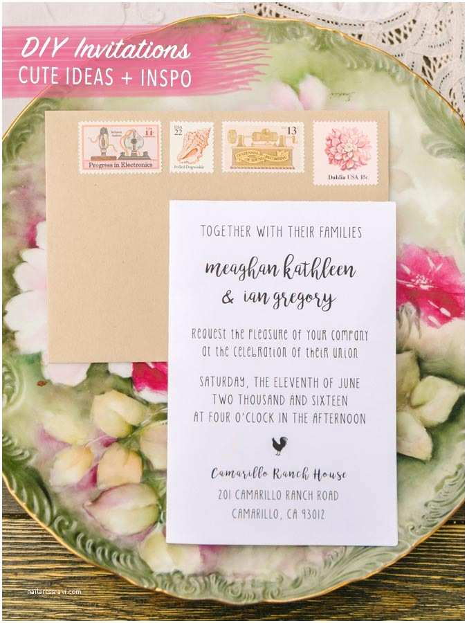 Cute Stamps for Wedding Invitations Diy Invitations