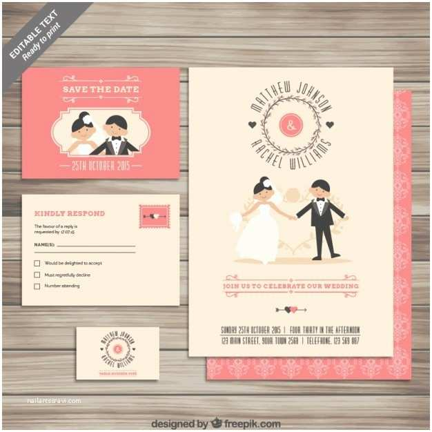 Cute Wedding Invitations Cute Wedding Invitation Collection Vector
