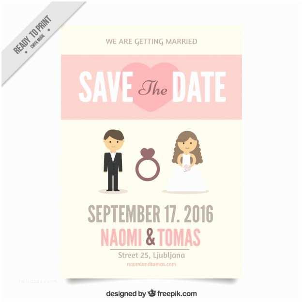 Cute Wedding Invitations Wedding Invitation with A Cute Couple Vector