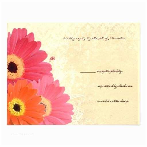 "Daisy Wedding Invitations Coral & Orange Gerber Daisy Wedding Invitation 4 2"" X"