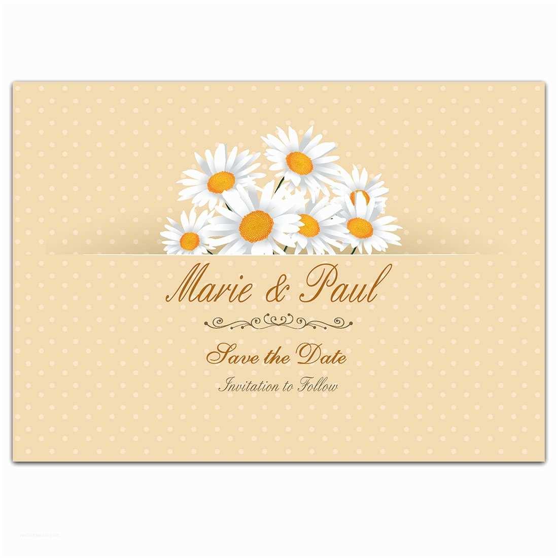 Daisy Wedding  Daisy Dots Yellow Save The Date Wedding