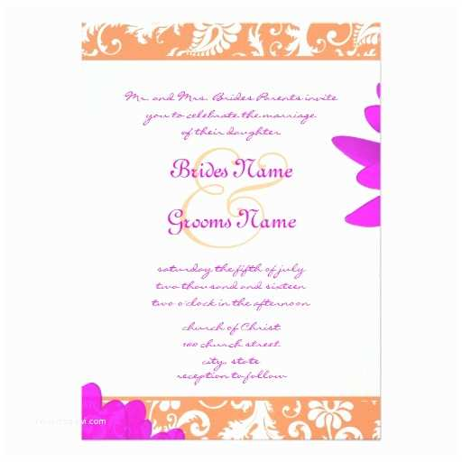 "Daisy Wedding Invitations Orange & Fuchsia Gerber Daisy Wedding Invitation 5"" X"