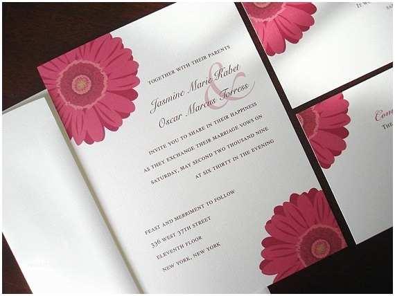 Daisy  Invitations Pink Gerber Daisy  Invitation Floral