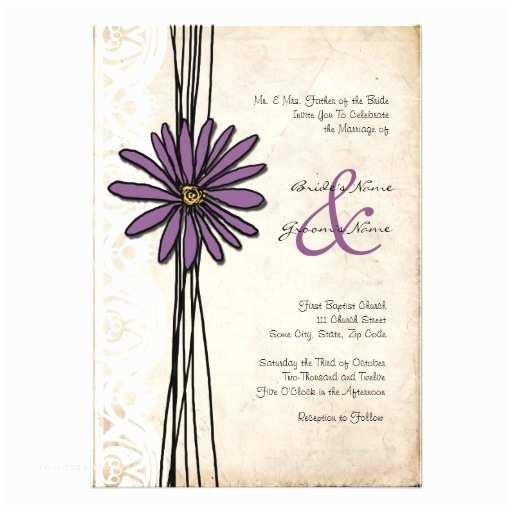 Daisy Wedding Invitations Vintage Purple Daisy Wedding Invitations 13  X 18