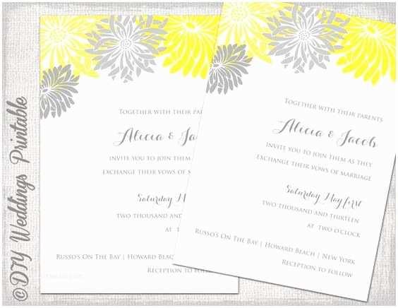 Daisy Wedding Invitations Wedding Invitation Template Yellow & Gray Diy Summer