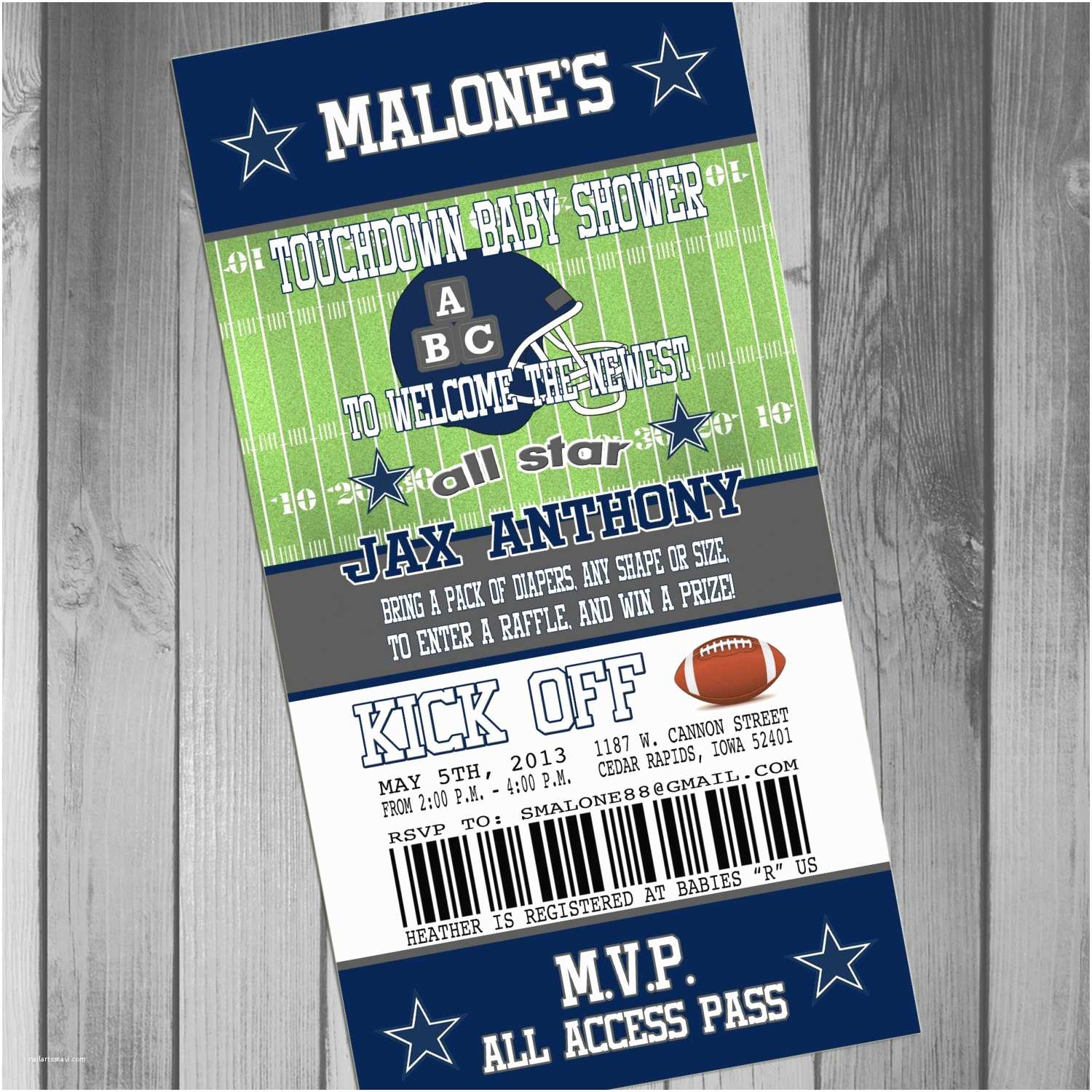 Dallas Cowboys Baby Shower Invitations Additional Card for Maci with Printing and by Claceydesign