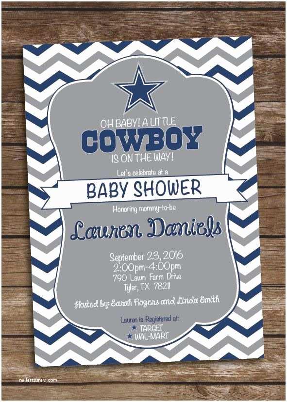 Dallas Cowboys Baby Shower Invitations Cowboys Inspired Football Baby Shower Invitation