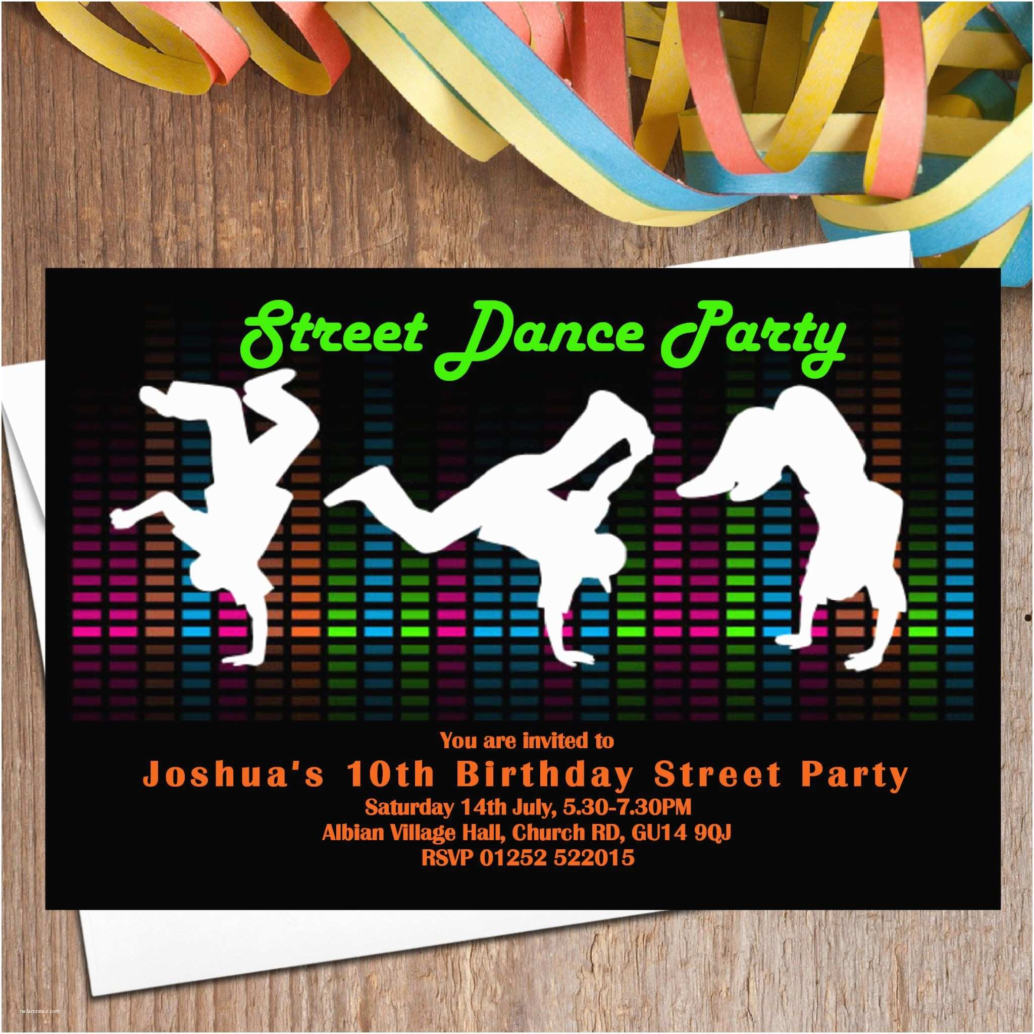 Dance Party Invitations 10 Street Dance Party Invitations N104