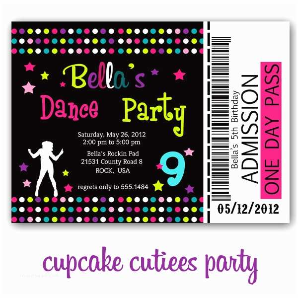 Dance Party Invitations Cupcake Cutiees Dance Party Invites and Printable Party Store