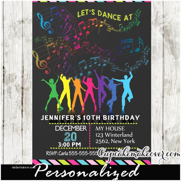 Dance Party Invitations Dance Party Birthday Invitations Rainbow Music Notes