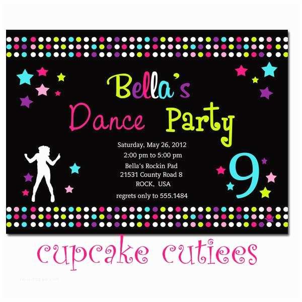 Dance Party Invitations Dance Party Full Invite Digital Custom Invitation Card
