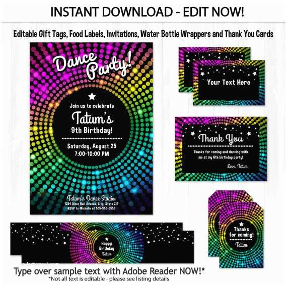 Dance Party Invitations Dance Party Invitations Disco Dance Birthday Invitations
