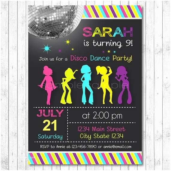 Dance Party Invitations Disco Invitation Disco Invite Disco Party Dance Birthday