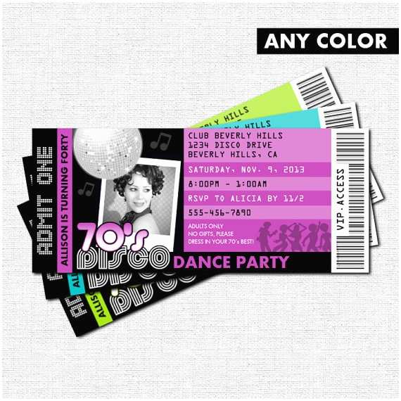 Dance Party Invitations Disco Ticket Invitations 70 S Dance Birthday Party by