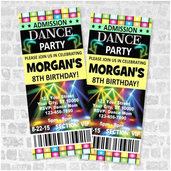 Dance Party Invitations Printed Ticket Dance Party Invitation Custom Boy or Girl