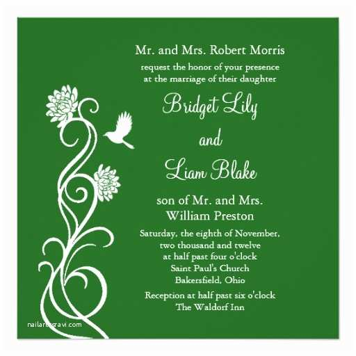 Dark Green Wedding Invitations Dark Green Lotus Flowers Wedding Invitation