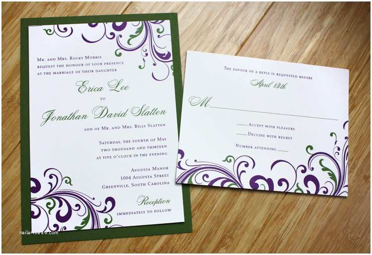 Dark Green Wedding Invitations Dark Purple & Green Swirls and Scrolls Wedding Invitations