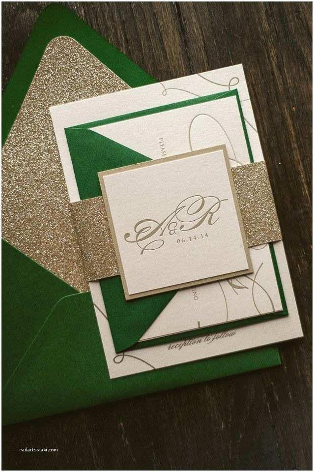 Dark Green Wedding Invitations Lauren Suite Glitter Package