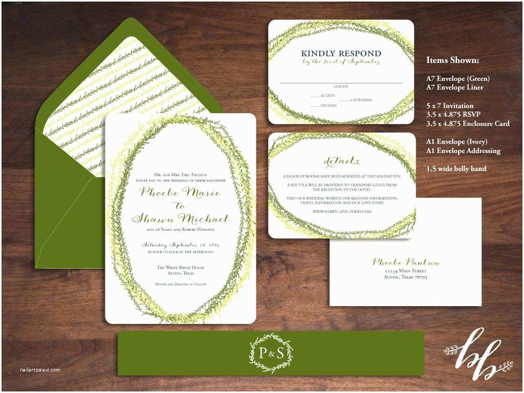 Dark Green Wedding Invitations Sample Ivy Strands Wedding Invitation — Printed On