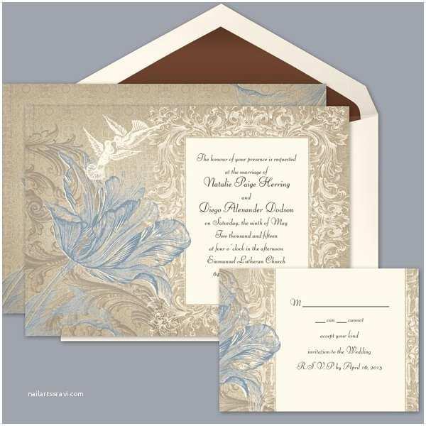 David Bridal Wedding Invitations Rustic Blue Gold Invitations by Davids Bridal Reply with