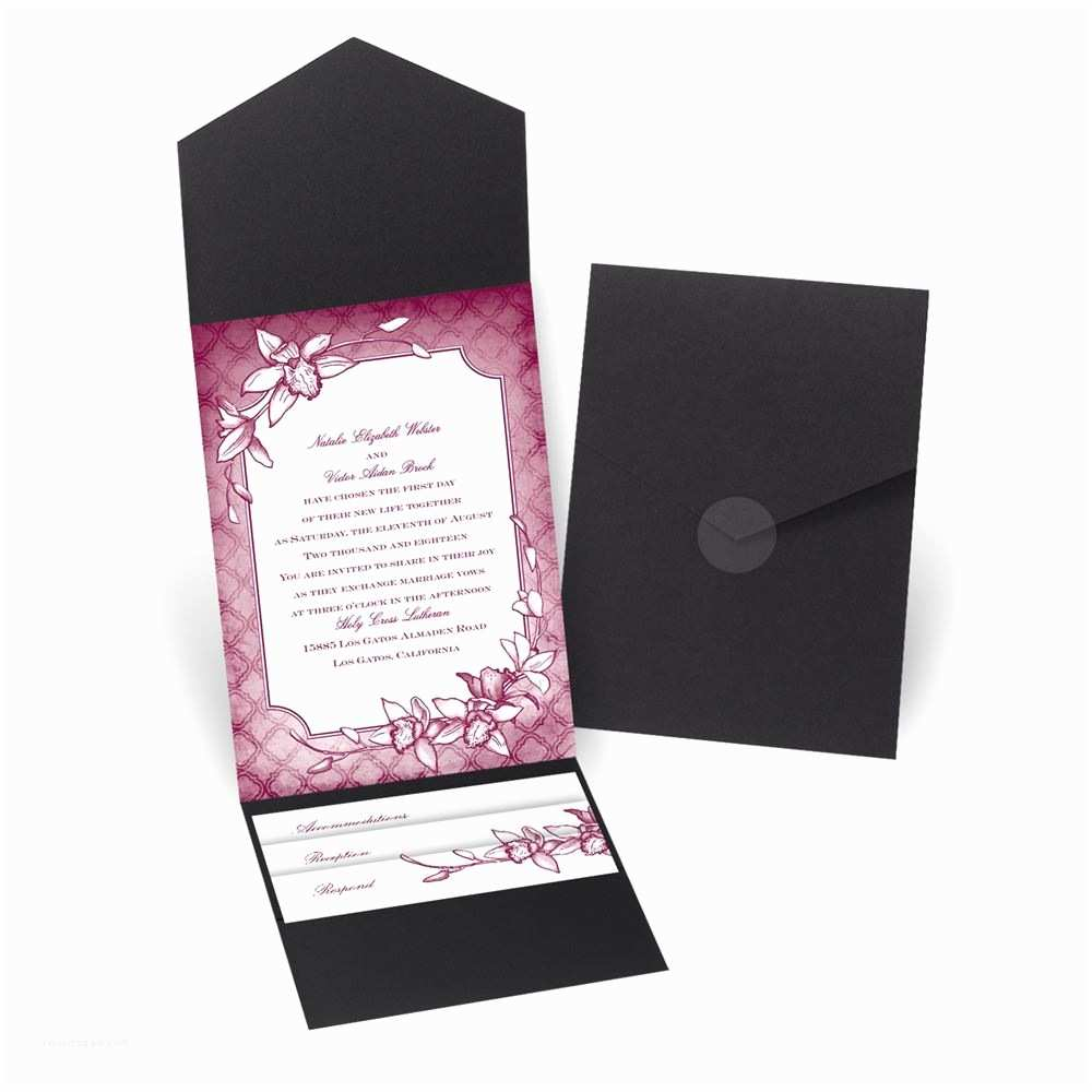 David Tutera Wedding Invitations Exotic orchid Pocket Invitation