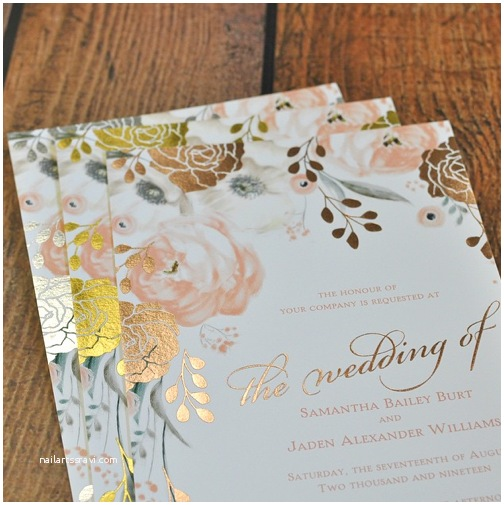 David Tutera Wedding Invitations Whimsical Rose Foil Invitation