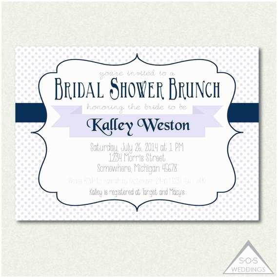 David's Bridal Wedding Invitations Bridal Shower Brunch Invitation Navy and Lavender Wedding