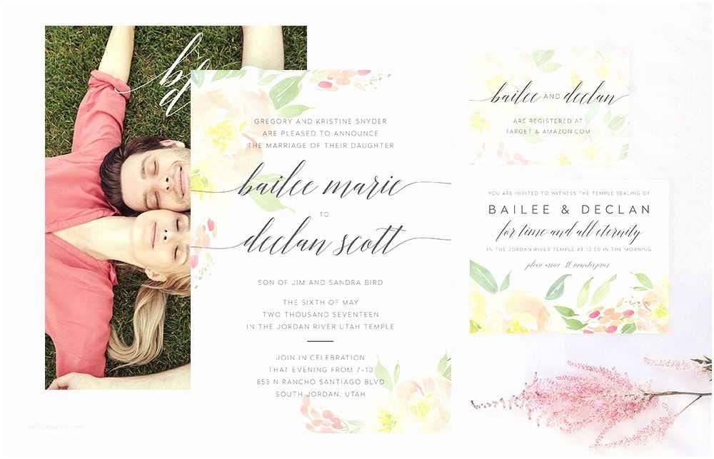 David's Bridal Wedding Invitations Jordan River Wedding Invitation Suite Mormon Wedding