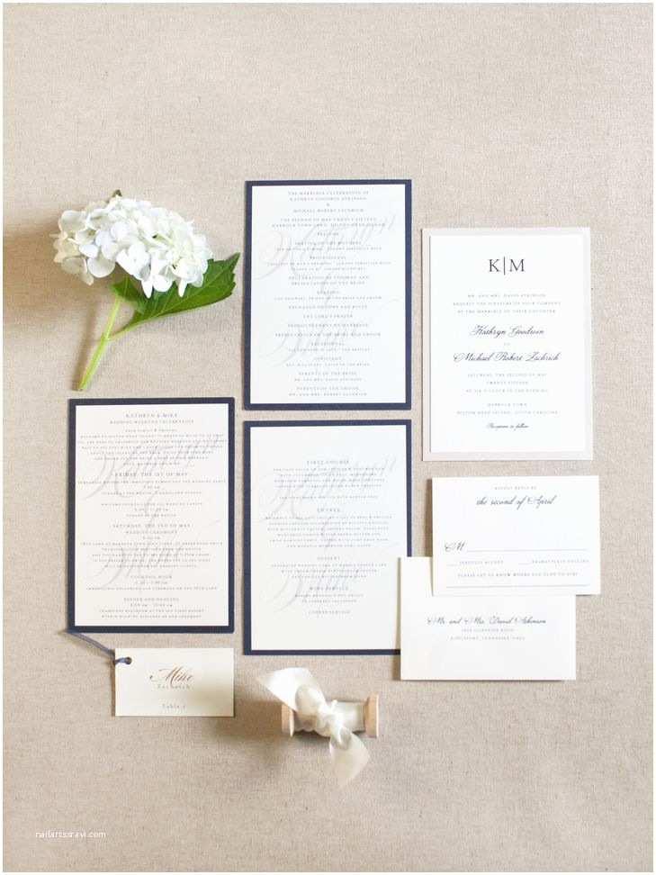 David's Bridal Wedding Invitations Navy and Ivory Wedding Invitation Suite