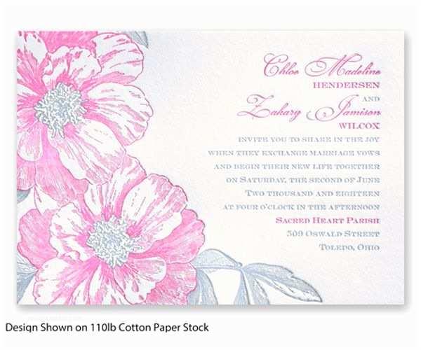 David's Bridal Wedding Invitations Vintage Wild Roses Letterpress Wedding Invitation by David