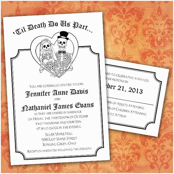 Day Of the Dead Wedding Invitations Custom Day Of the Dead Halloween Wedding Invitations