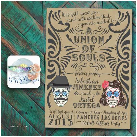 Day Of the Dead Wedding Invitations Day Of the Dead themed Wedding Invitation
